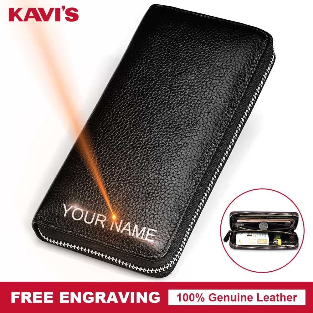 KAVIS Free Engraving Genuine Leather Long Wallet Men Coin Purse Male Clutch Walet Portomonee Handy Business Man Perse for NameKAVIS Free Engraving Genuine Leather Long Wallet Men Coin Purse Male Clutch Walet Portomonee Handy Business Man Perse for Name