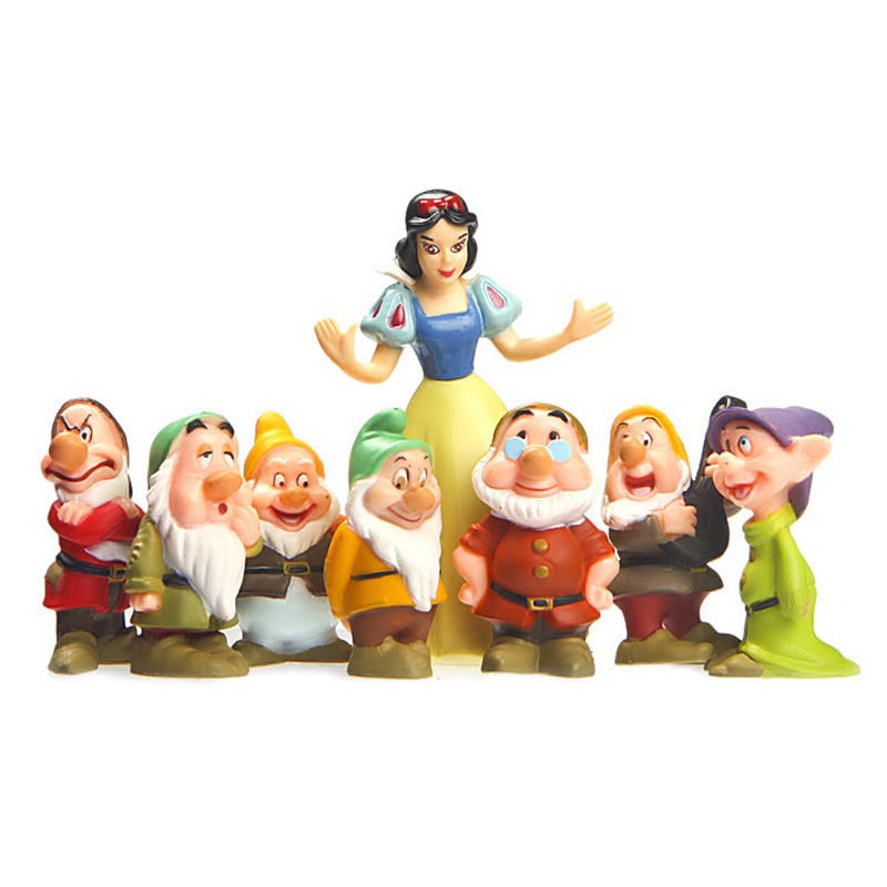 5-10cm 8pcs\set Snow White And The Seven Dwarfs 7 Ornaments Model Doll Toys For Children Gift PVC Figure Models