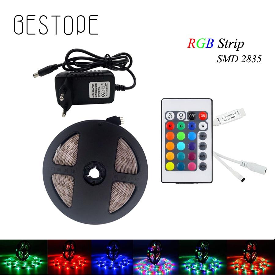 5M RGB White  LED Strip Light Non Waterproof SMD 2835 DC 12V Led Strip Diode Tape Flexible Ribbon Controller+plug Led Strip