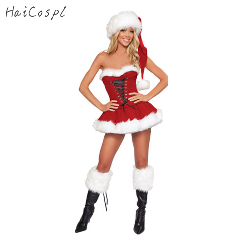 Plus Size New Year Christmas Costume For Women Red Sexy Dress Adult Female Fancy Cosplay +Hat