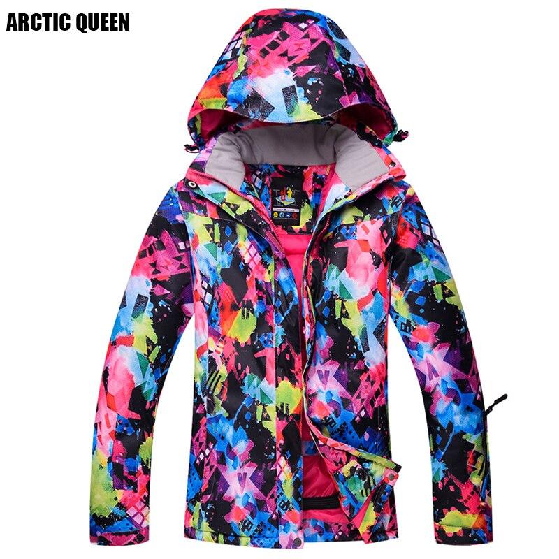 ARCTIQUE REINE Marque Ski Veste de Femmes Coloré Coupe-Vent Veste Imperméable Épais À Capuchon Ski Vestes D'hiver Vêtements de Plein Air
