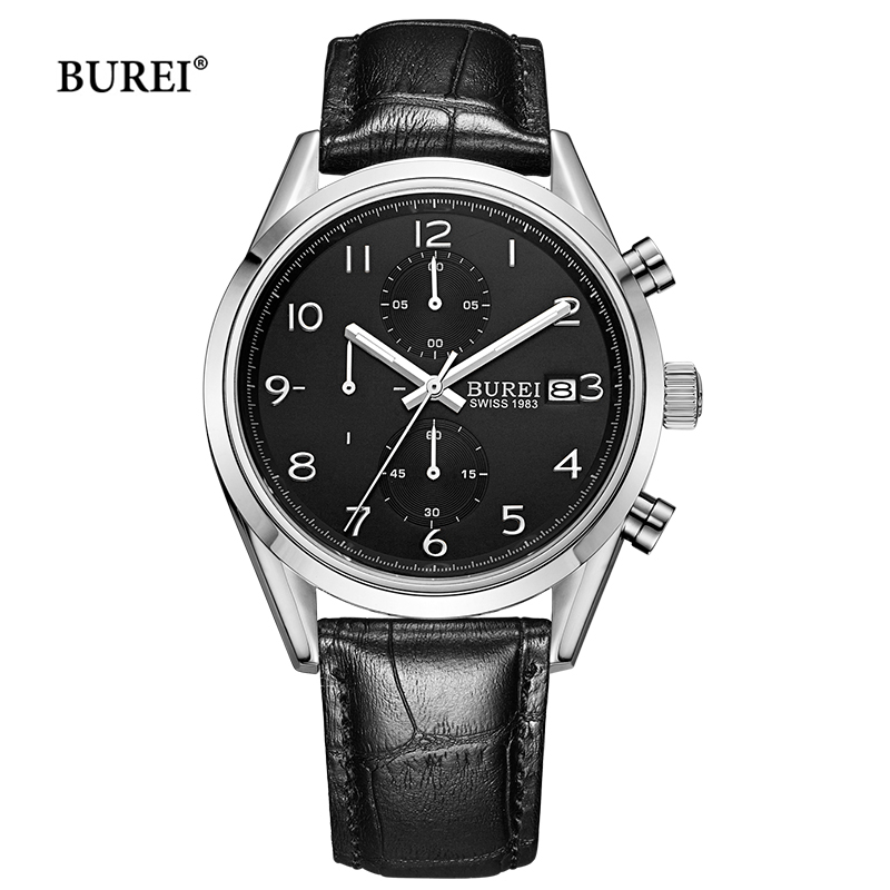 BUREI Mens Watches Waterproof Army Military Sapphire Crystal Chronograph Leather Quartz Wrist Watch Top Brand Luxury Clock Men seiko watch premier series sapphire chronograph quartz men s watch snde23p1