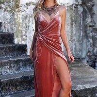 Ordifree 2017 Autumn Women Long Velvet Dress Green Red Slip Dress Winter V Neck Split Asymmetrical Sexy Maxi Dress