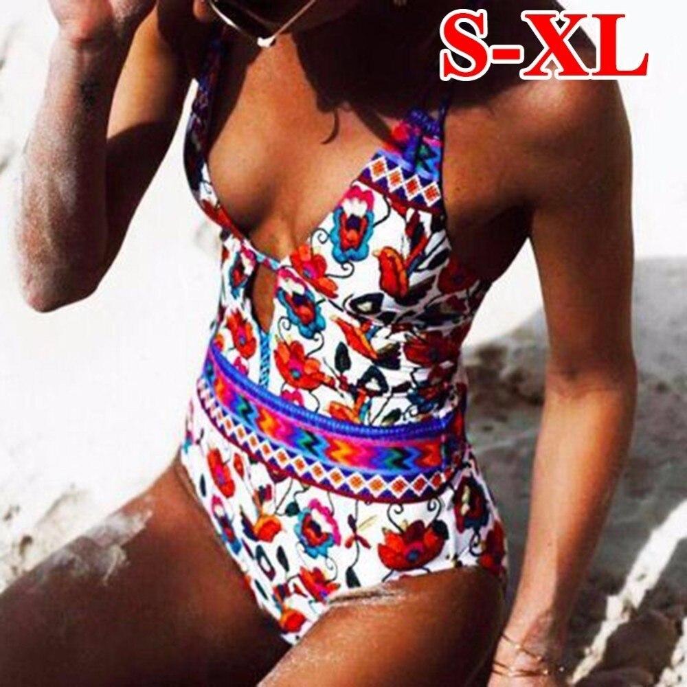 где купить Floral Printed Sexy One Piece Swimwear 2018 Swimsuit Women Monokini 1 Piece Bodysuit Women Swimsuit Female Bathing Suit по лучшей цене