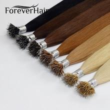 """FOREVER HAIR европейские прямые кератиновые волосы с микро бусинами 0,8 г/локон 1"""" 18"""" 2"""" натуральные человеческие волосы Remy Nano Ring 50 шт"""