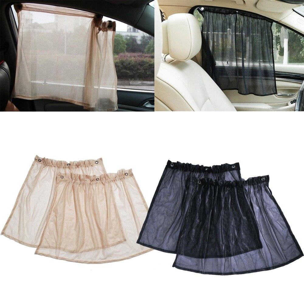 1Pair Universal Net Car Sunshade Auto Side Window Sunshade Black Beige Summer SUN UV Protector Sheet Privacy Protective Curtain