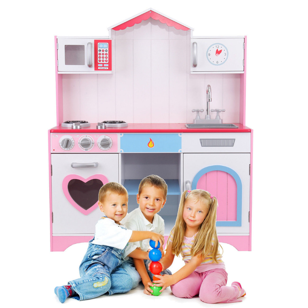 цена (Ship from EU) Children Kids Kitchen Cooking Role Playing pretend Toy Stove set Wooden Pre School Hobby Role Christmas gift