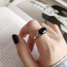 LouLeur 925 argent sterling Original agate noire anneaux ouverts tempérament or élégant design anneaux pour les femmes festival bijoux