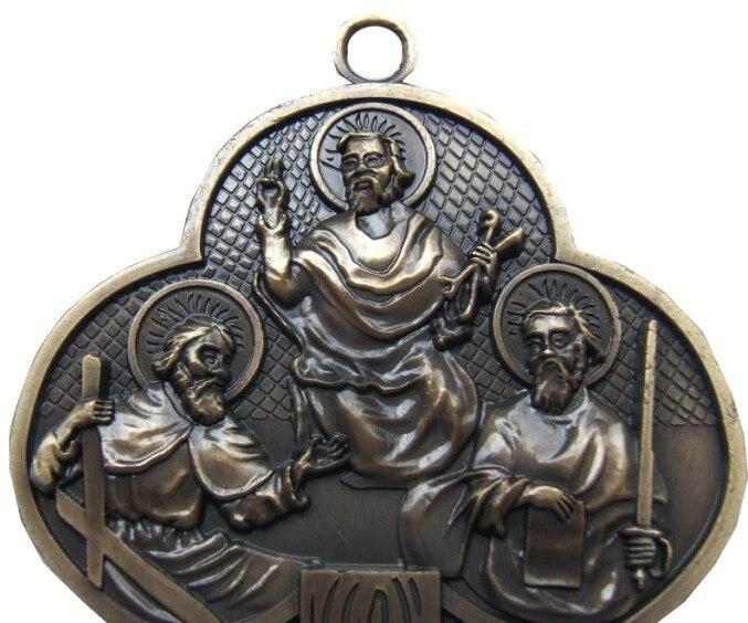 12 apôtres croix INRI chrétien jésus Emmanuel catholique saint ornement Jesu Crucifix agneau de dieu tenture murale décor environ 32.5CM - 3