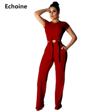 Summer 2 Piece Set Crop Top And Pants Ribbed Knitted Pants Set Wide Leg Pants Short Sleeve Top Elegant Sexy Party Club Oufit