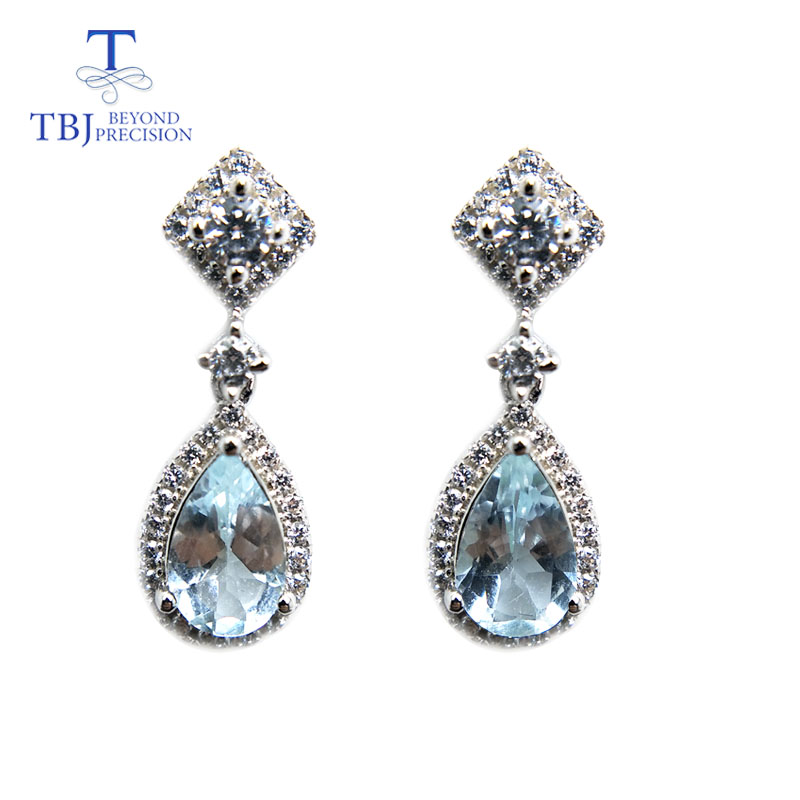 TBJ,Natural Water Drop Aquamarine gemstone simple classic earrings in 925 sterling sliver for girls women as engagement giftTBJ,Natural Water Drop Aquamarine gemstone simple classic earrings in 925 sterling sliver for girls women as engagement gift