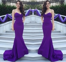 New Satin Sweetheart Lace Up Mermaid Evening Dresses 2019 Long Prom Party Dress Purple Floor Length  Formal Gowns Custom Made