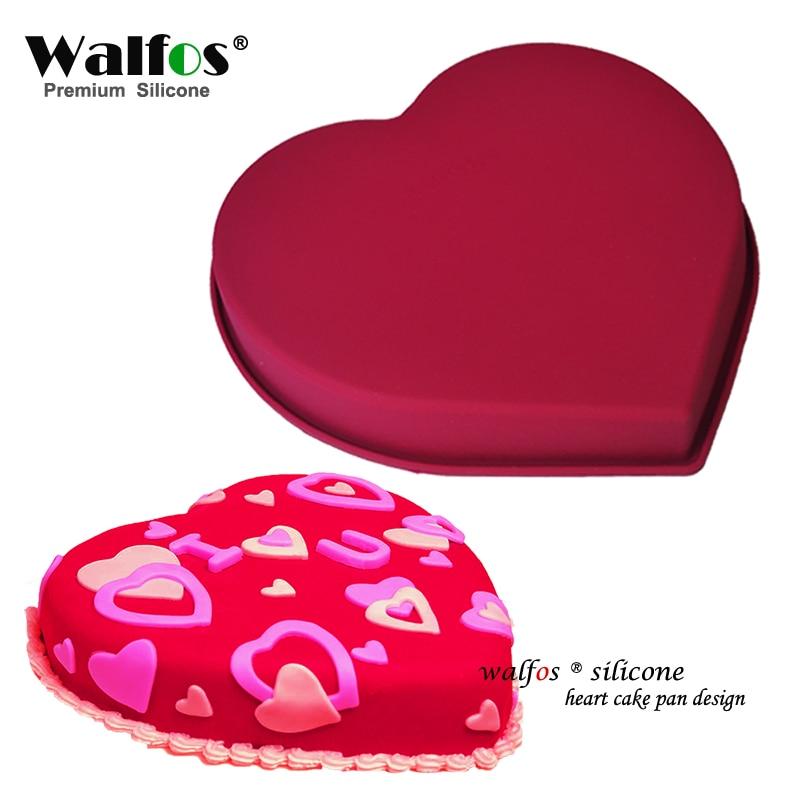 WALFOS βαθμού τροφίμων Αγάπη Καρδιά σχήματος σιλικόνης Κέικ σιλικόνης Μούχλα κέικ κέικ Μη κολλητική ψήσιμο Mousse Κέικ καλουπιών Επιδόρπιο Διακόσμηση Εργαλεία