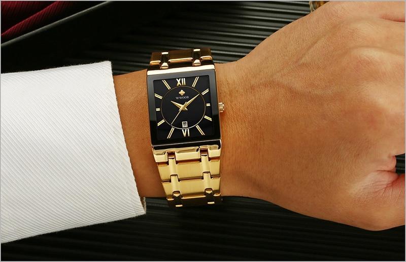 HTB1yeB8af1H3KVjSZFHq6zKppXar Men Watches Top Brand Luxury WWOOR Gold Black Square Quartz watch men Waterproof Golden Male Wristwatch Men watches