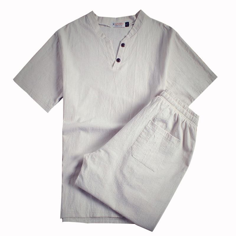 Men T-shirt Shorts Set Plus Size 5XL 6XL 7XL 8XL 9XL 10XL Linen Male Shirt Short Sleeve  Shorts Two Piece Set Summer Comfort