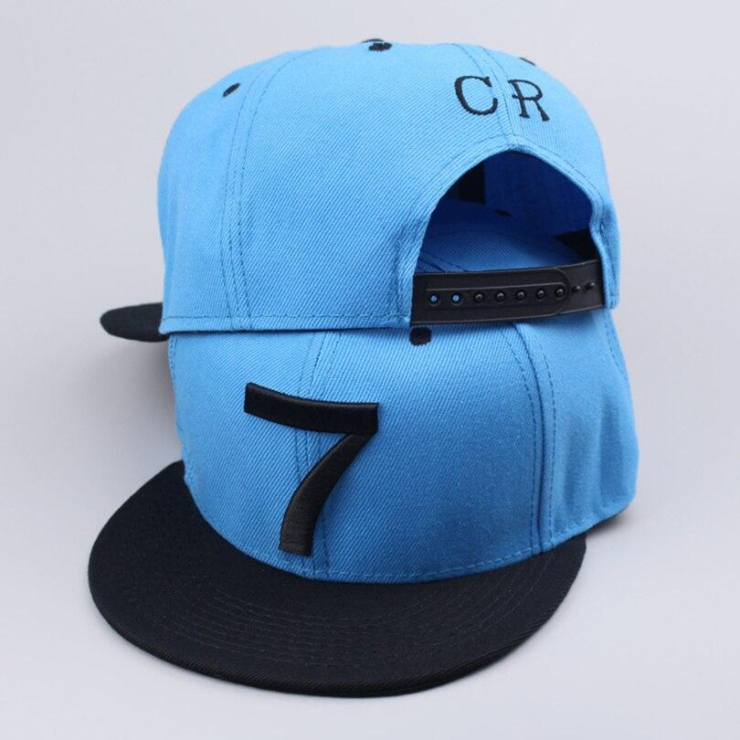 2017 New Cristiano Ronaldo CR7 blue Baseball Caps hip hop Sports Snapback hat unisex flat brim hats adjustable high quality