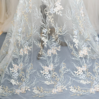 3D Color Flower Embroidery Lace Chinese Brocade Mesh Sequin Fabric Wedding Dress Veil Diy Handmade Clothing Decoration Material