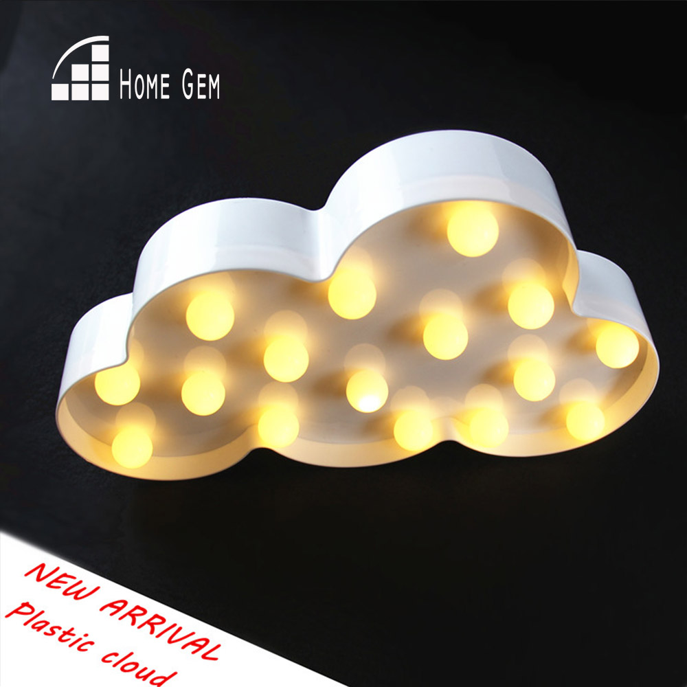 Creative LED 3D Cloud Night Lamp Battery Powered White Cloud Letter - Night Lights - Photo 1