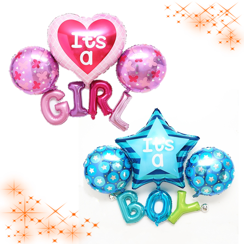 Multi Balloons ITS A BOY GIRL Letter Balloons Kids Baby Shower Party Centerpieces Bouquet Decoration 1 year Birthday Celebration