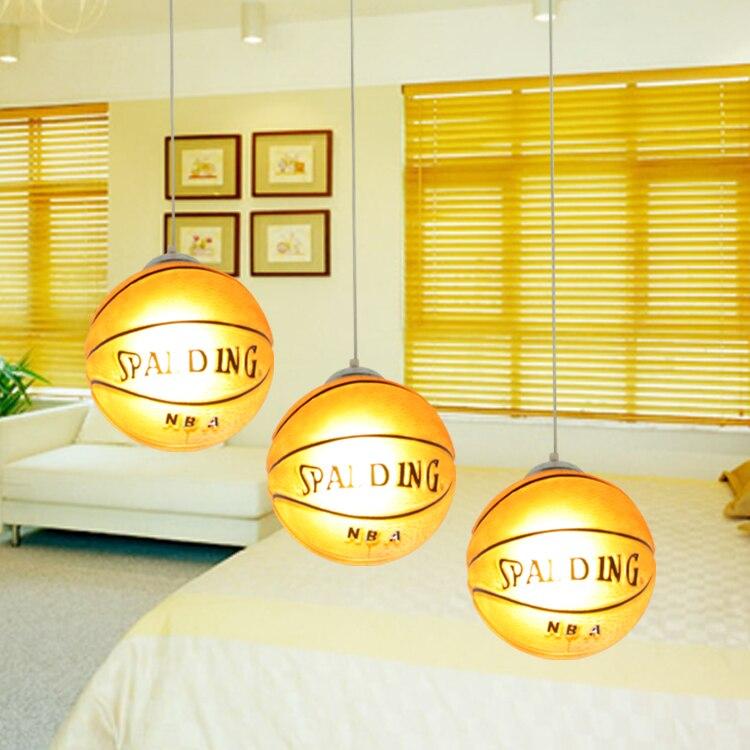 Lampes suspendues de basket lampes suspendues de chambre d'enfant lampe suspendue de chambre d'enfant LED chinois lampe pendante de boule de verre basket-ball - 6