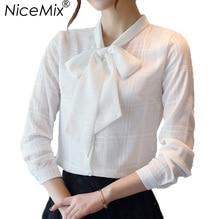 NiceMix 2017 Elegant Office Blouse Shirt Women Long Sleeve Chiffon Blusa Female Slim Plus Size Bow Lacing Casual Blouses