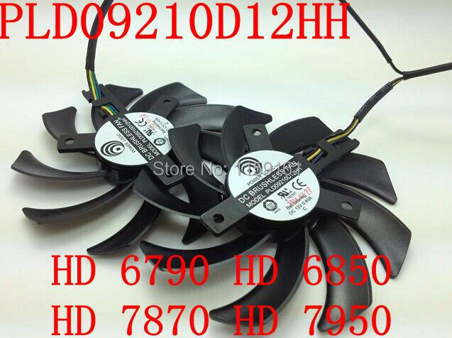 Free Shipping PLD09210D12HH 2pcs/lot HD7950HD7870HD6790HD6850 graphics card dual fan large volume free shipping 2pcs lot pld08010s12hh dc 12v 0 35a 75mm dual fans replacement video card fan msi twin frozr iii 4pin