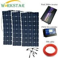 3*100 W Sunpower гибкие солнечные панели с 30A контроллера и 2000 W инвертор 300 W комплект солнечных батарей для начинающих для колесах/лодка