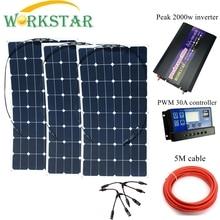 WORKSTAR 3*100 Вт Sunpower гибкие солнечные панели с 30A контроллером и 2000 Вт Инвертор 300 Вт комплект солнечных батарей для начинающих