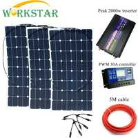 WORKSTAR 3*100W Sunpower Flexible Solar Panels with 30A Controller and 2000W Inverter 300W solar System Kit for Beginner