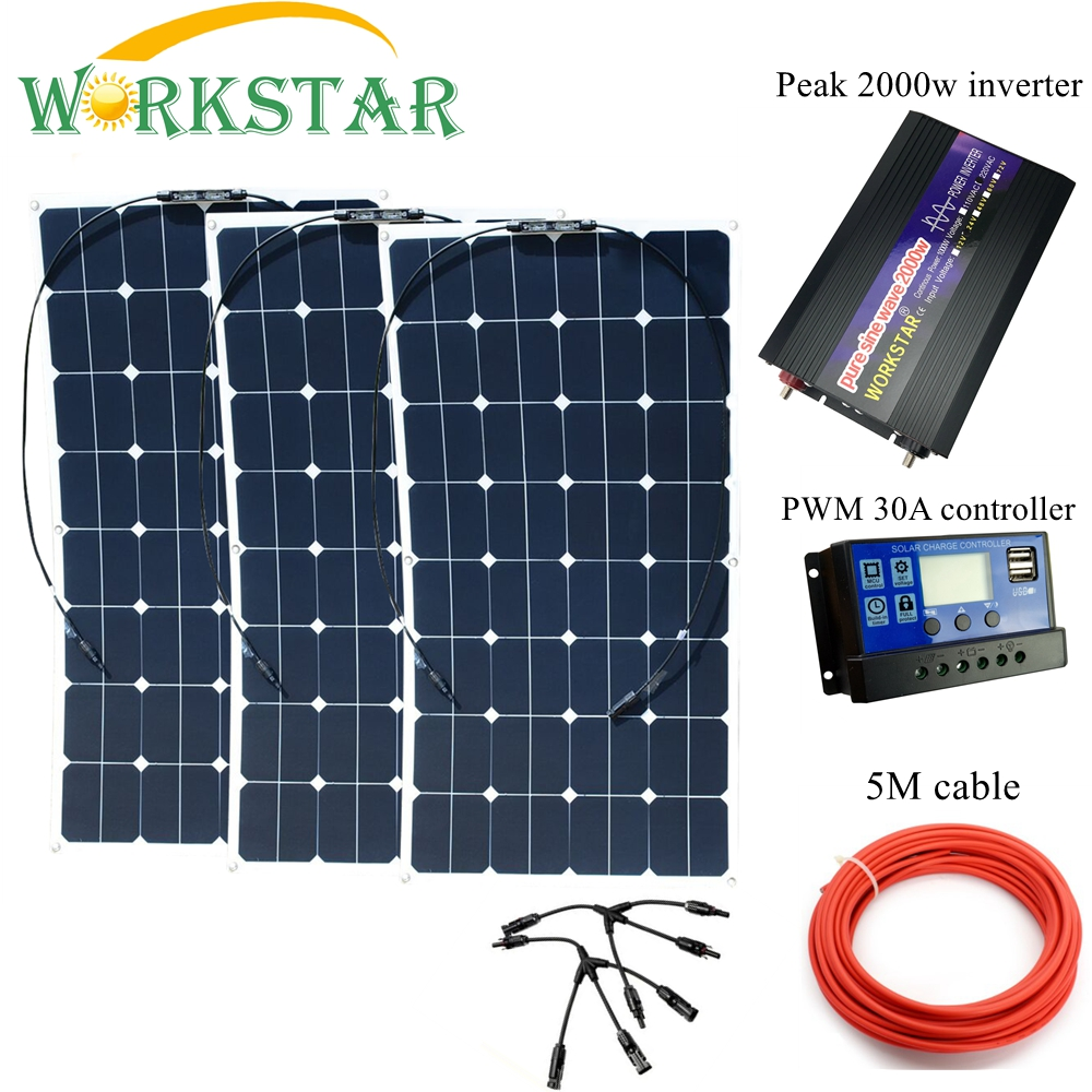 WORKSTAR 3*100W Sunpower Flexible <font><b>Solar</b></font> <font><b>Panels</b></font> with 30A Controller and <font><b>2000W</b></font> Inverter 300W <font><b>solar</b></font> System Kit for Beginner image
