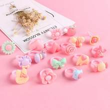 12pcs Ring For Children Jewelry Fashion Colored Multicolor Ring Cute Girls Gifts Lovely Fruit Scrub Animal Princess Suit Kinds(China)