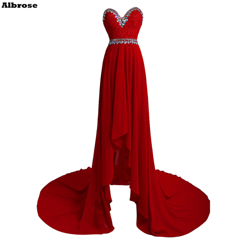 High Low Evening Dress Lace Red Chiffon Evening Dresses Long Formal Party Dresses Crystal Backless Chic Prom Gown Court Train