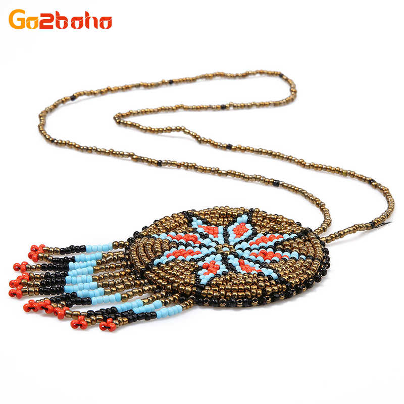 Go2boho Bohemia Pendant Necklaces Women Long Strand Statement Necklace Seed Beads Mexican Handwoven Loom Pattern Fashion Jewelry