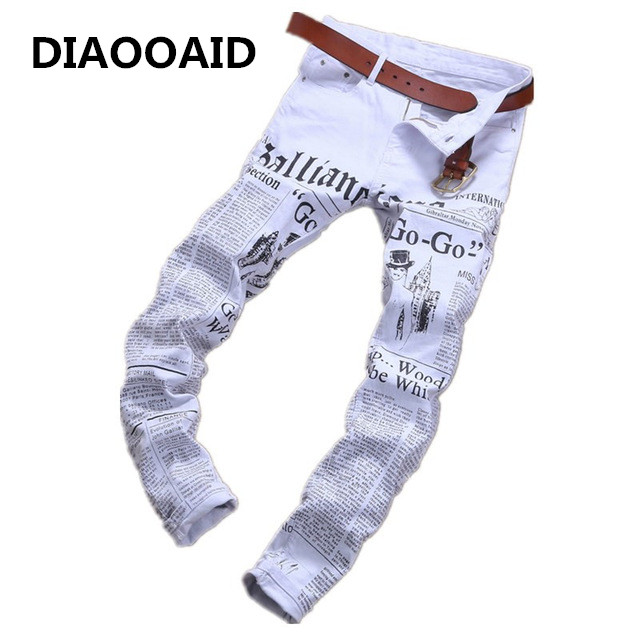 Новый модный бренд мужские джинсы стрейч белые буквы печать мужчин Slim Fit Эластичные повседневные штаны узкие джинсовые штаны с принтом