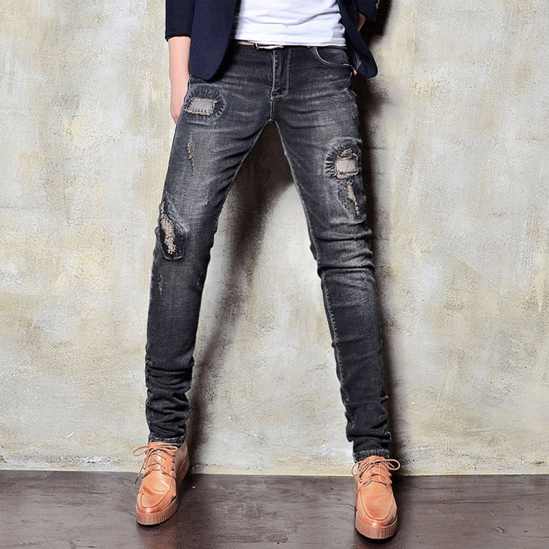 Black Mens Skinny Jeans Ripped Patch Casual Denim Pant Men Fashion Slim Fit Male Trousers Korean Stretch Pencil Pants Boys 2017 fashion patch jeans men slim straight denim jeans ripped trousers new famous brand biker jeans logo mens zipper jeans 604