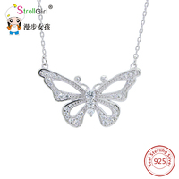 Strollgirl Authentic Sterling Silver CZ Butterfly Pendants Necklace Long Chain Animal Necklaces Women Gift Silver 925