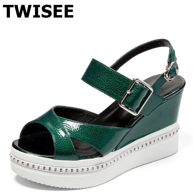 TWISEE Platform Patent Leather Ladies shoes woman sandals Buckle Strap summer sandals peep toe Wedges heels 8 cm casual shoes phyanic 2017 gladiator sandals gold silver shoes woman summer platform wedges glitters creepers casual women shoes phy3323