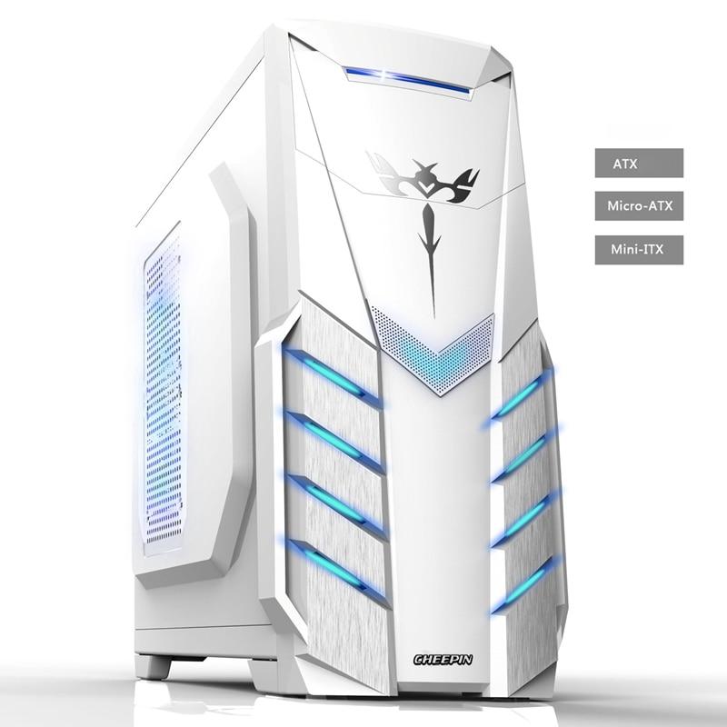 2018 Hot ATX Gaming coque d'ordinateur PC de jeu PC tour ordinateur boîte micro-atx ITX panneau transparent côté pour PC gamer enceinte