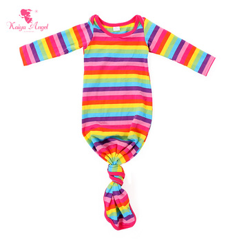 Kaiya Angel Baby Girl Boy Sleep Gowns Newborn Long Sleeve Pink Stripe Dress Nightgowns Rainbow Clothes Factory Wholesale