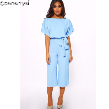 2019 Sexy Jumpsuit Women Long Romper Summer Bodysuit Sashes Trousers Pockets Beach Coveralls Playsuit Female
