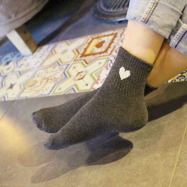5 Pairs Soft Heart Print Winter Socks