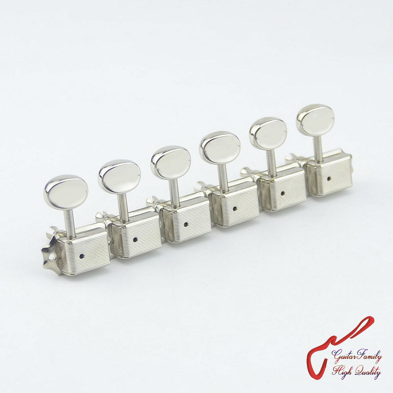 1 Set GuitarFamily  6 In-line  Kluson Vintage  Guitar Machine Heads Tuners  ( Nickel )  MADE IN KOREA 1 set guitarfamily alnico pickup for casino jazz guitar nickel cover made in korea