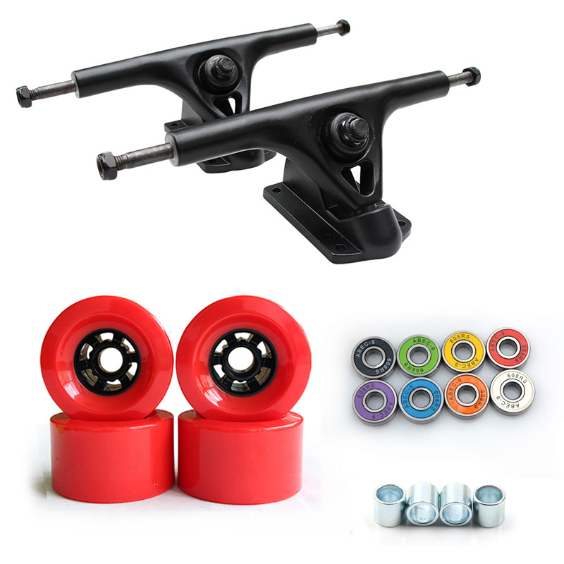 78A 90*52mm Longboard roues PU Skateboard 8 pouces pont Longboard camions ABEC-9 roulements bagues Skateboard route roues camion - 5