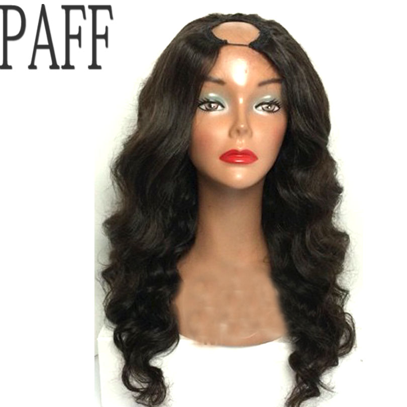 PAFF Body Wave Human hair U Part Wig Glueless Remy Hair Natural Black Color1 4inch Openning