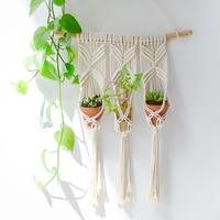 Macrame Plant Hanger Basket Flowerpot Plant Holder Macrame Hanging Vintage Knotted Lifting Rope Garden Home Decoration