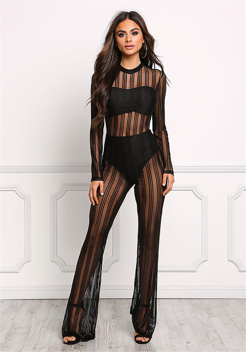 Women Black Lace Rompers Sexy Club Solid Color Jumpsuit Long Sleeve Transparent Mesh Playsuit Female See Through Sexy Bodysuit