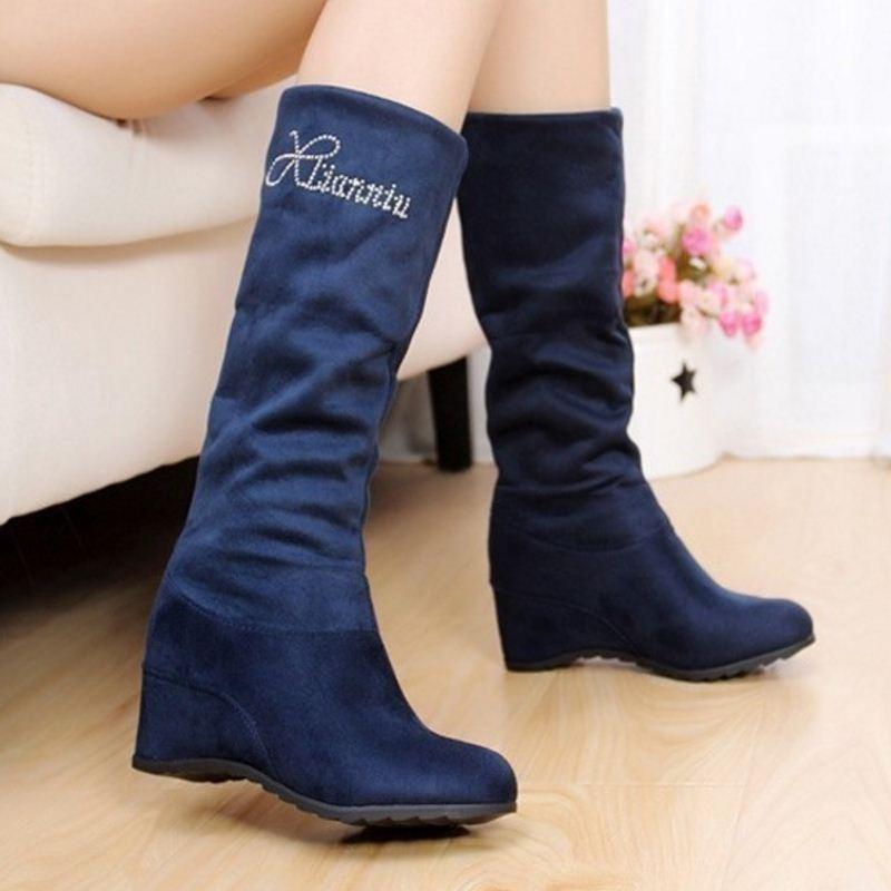 77c193d12703 XJRHXJR Woman Wedges Boots Winter High Heel Shoes Women Half Short ...