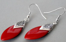fabulous 925 Silver Red Coral Flat Drop jewelry Earrings(China)