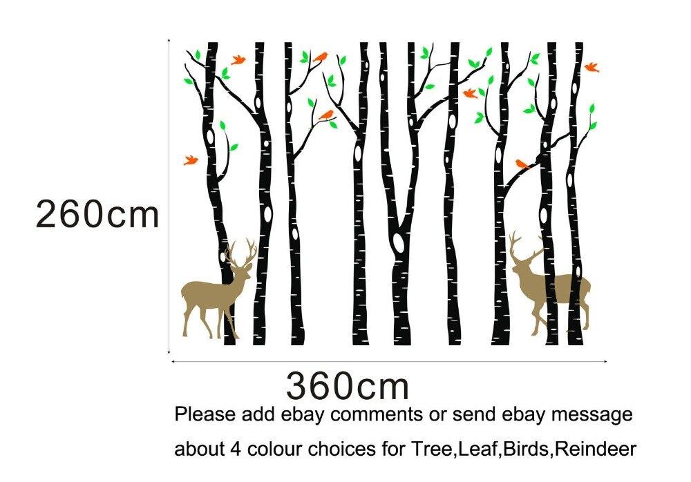 Vinyle arbre Stickers muraux 260x360 cm renne arbre forêt oiseaux stickers muraux décalcomanie Art pépinière décor Stickers muraux pour chambre d'enfants - 6