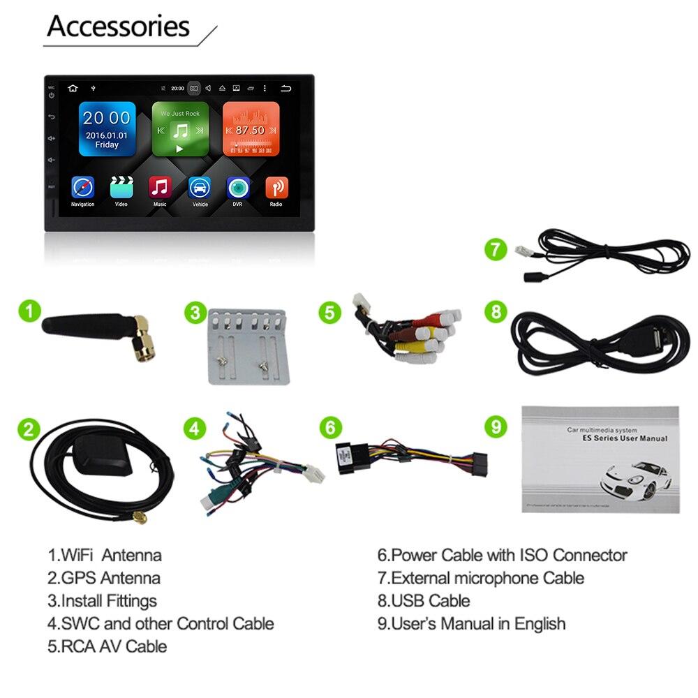 Eunavi Full touch 2 Din 7'' Universal Android 9.0 4G 64G Octa core Car Radio Stereo GPS WiFi 2din multimedia pc headunit no dvd